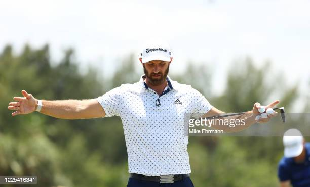 Dustin Johnson of the American Nurses Foundation team warms up prior to the TaylorMade Driving Relief Supported By UnitedHealth Group on May 17 2020...