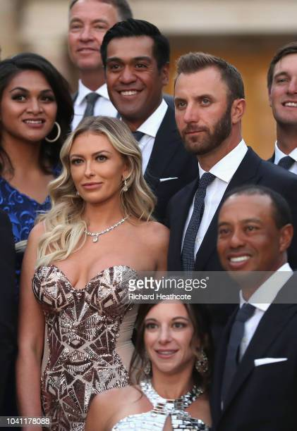 Dustin Johnson of the United States and his partner Paulina Gretzky poses before the Ryder Cup Gala dinner at the Palace of Versailles ahead of the...