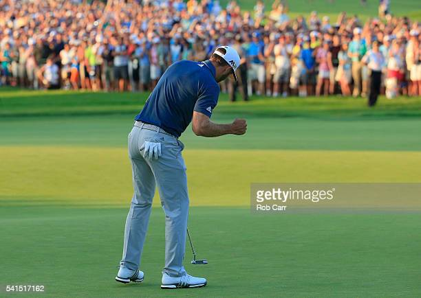Dustin Johnson of the United States celebrates a birdie on the 18th green during the final round of the US Open at Oakmont Country Club on June 19...