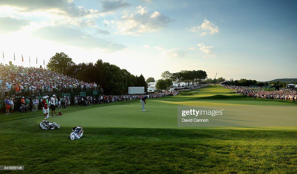 Dustin Johnson of the United States celebrates his birdie putt on the 18th green during the final round of the U.S. Open at Oakmont Country Club on June 19, 2016 in Oakmont, Pennsylvania.