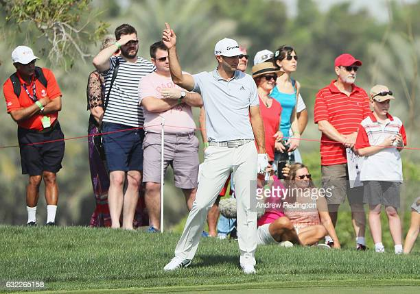 Dustin Johnson of the United States celebrates his eagle on the 8th hole during the third round of the Abu Dhabi HSBC Championship at the Abu Dhabi...