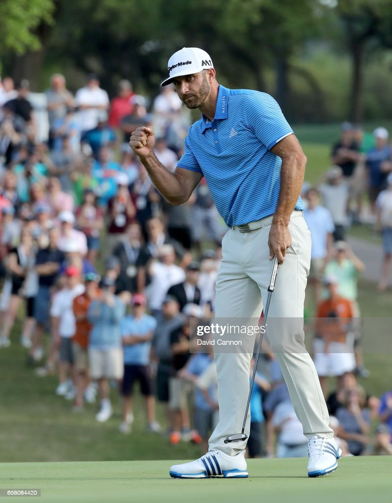 Dustin Johnson of the United States celebrates holing the winning putt on the 18th green to win by 1 up in his match against John Rahm of Spain during the final of the 2017 Dell Match Play at Austin Country Club on March 26, 2017 in Austin, Texas.