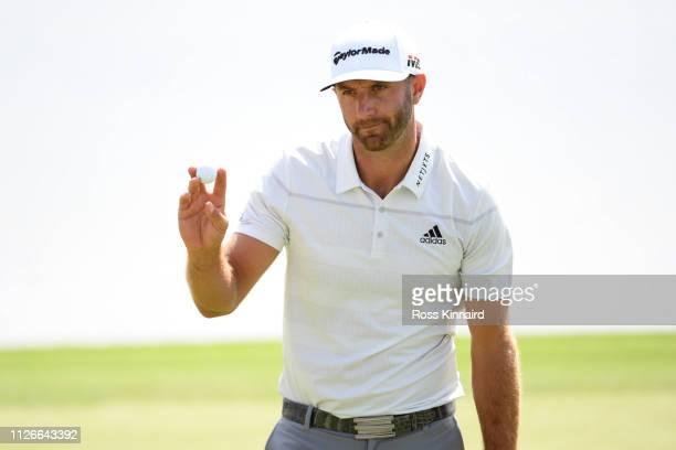 Dustin Johnson of The United States celebrates on the eighth hole during Day two of the Saudi International at the Royal Greens Golf Country Club on...