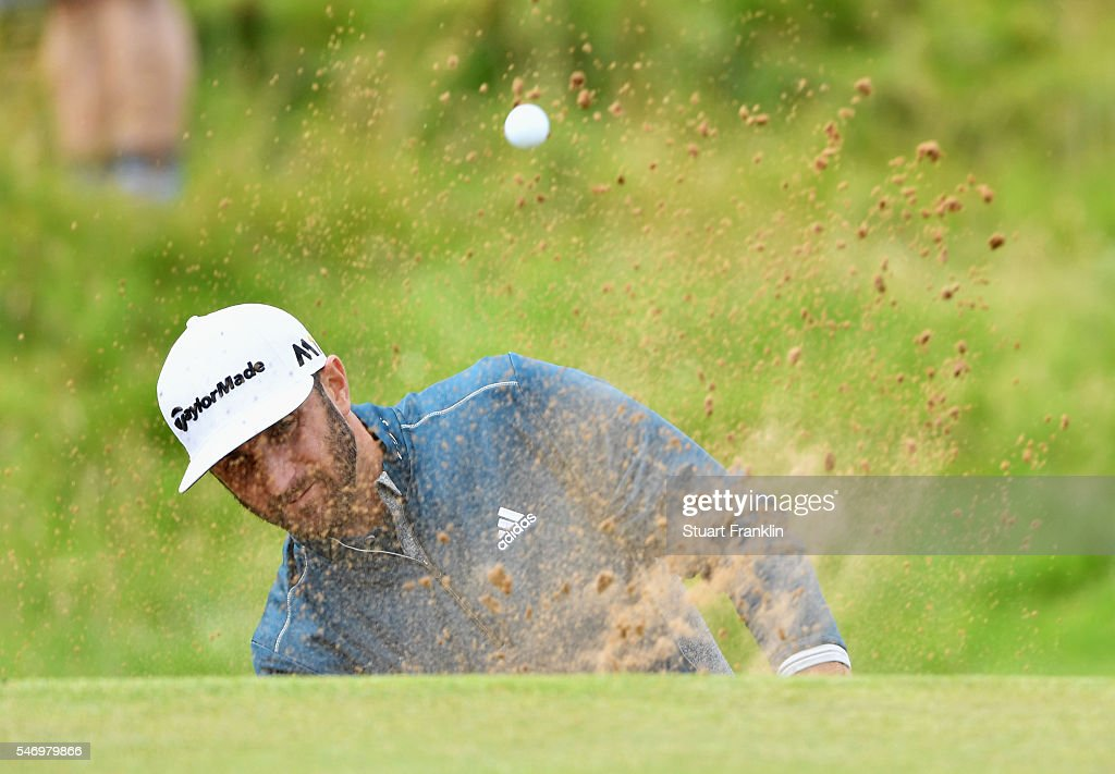 Dustin Johnson of the United States hits a bunker shot during a practice round ahead of the 145th Open Championship at Royal Troon on July 13, 2016 in Troon, Scotland.