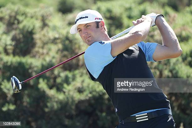 Dustin Johnson of the United States hits a shot during practice for the 139th Open Championship on the Old Course St Andrews on July 13 2010 in St...