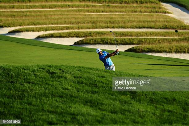 Dustin Johnson of the United States hits a shot on the third hole during the second round of the US Open at Oakmont Country Club on June 17 2016 in...