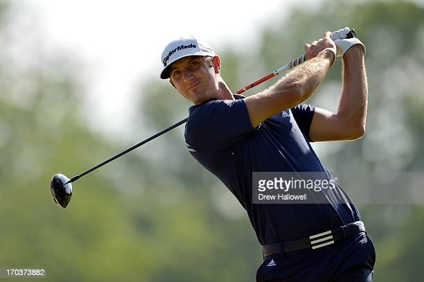 Dustin Johnson of the United States hits a tee shot during a practice round prior to the start of the 113th U.S. Open at Merion Golf Club on June 12,...