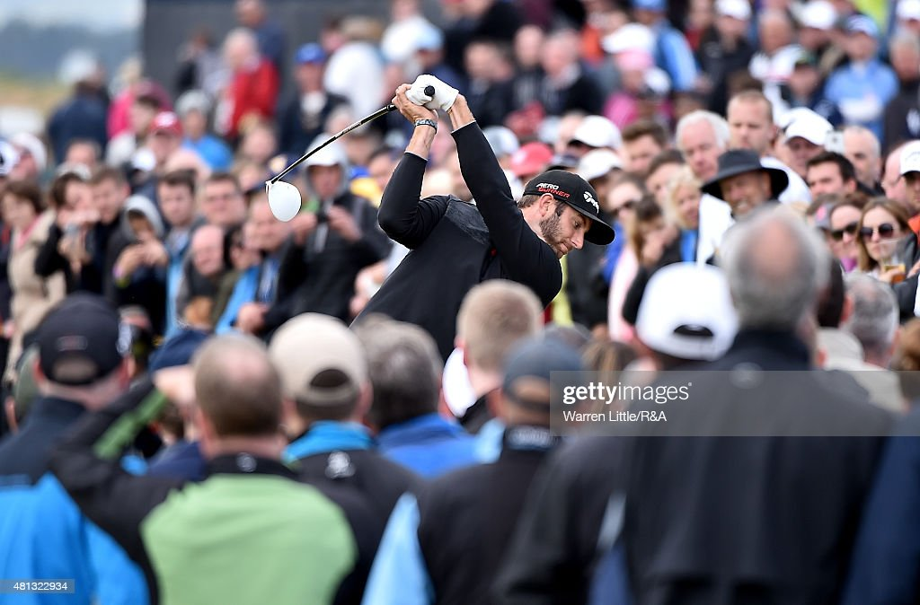 Dustin Johnson of the United States hits his tee shot off the fourth hole during the third round of the 144th Open Championship at The Old Course on July 19, 2015 in St Andrews, Scotland.