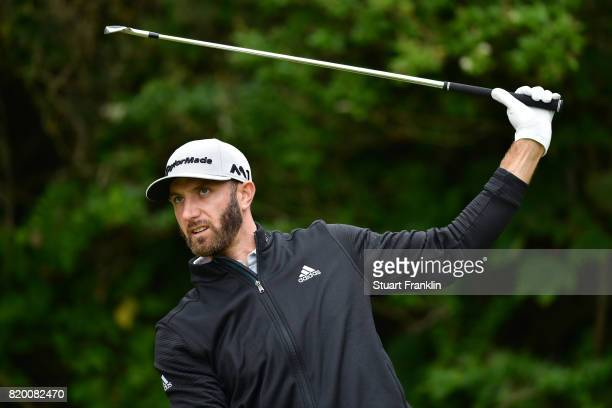 Dustin Johnson of the United States hits his tee shot on the 5th hole during the second round of the 146th Open Championship at Royal Birkdale on...