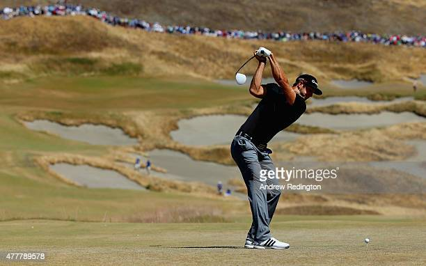 Dustin Johnson of the United States hits his tee shot on the fourth hole during the second round of the 115th US Open Championship at Chambers Bay on...