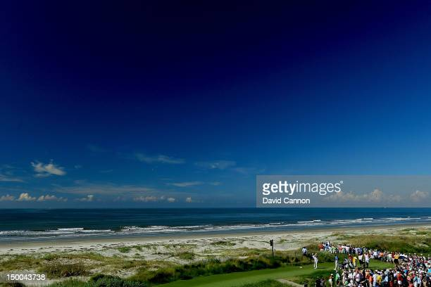 Dustin Johnson of the United States hits off the 18th tee during Round One of the 94th PGA Championship at the Ocean Course on August 9, 2012 in...
