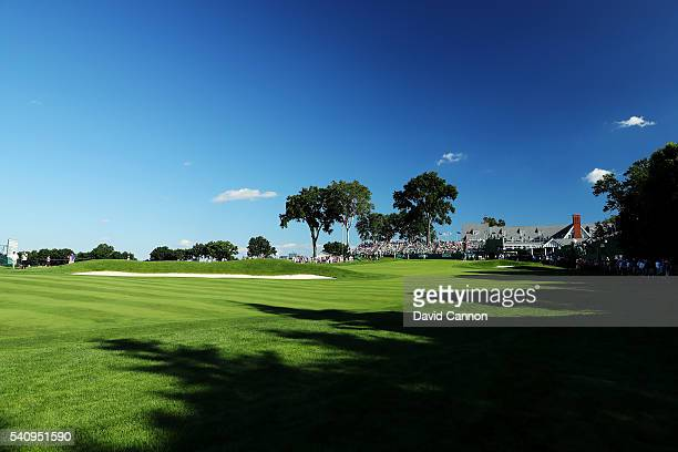 Dustin Johnson of the United States is seen on the 18th hole during the second round of the US Open at Oakmont Country Club on June 17 2016 in...