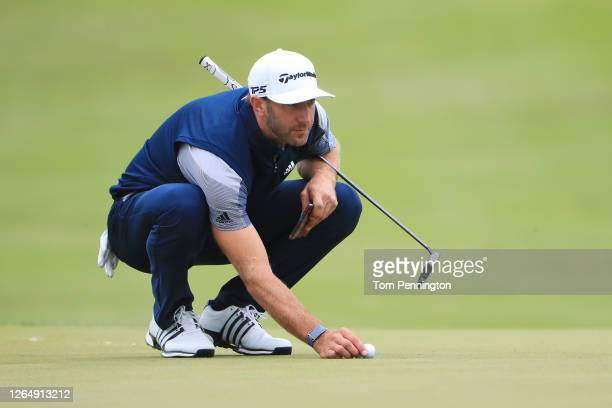 Dustin Johnson of the United States lines up a putt on the 15th hole during the final round of the 2020 PGA Championship at TPC Harding Park on...