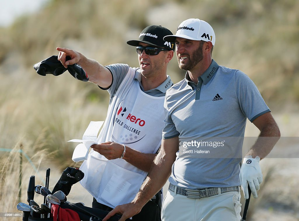 Dustin Johnson of the United States lines up a shot on the 16th tee with his brother/caddie Austin during the first round of the Hero World Challenge at Albany, The Bahamas on December 3, 2015 in Nassau, Bahamas