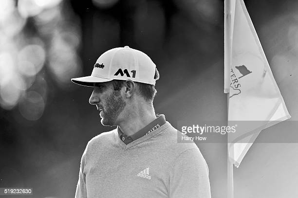 Dustin Johnson of the United States looks on during a practice round prior to the start of the 2016 Masters Tournament at Augusta National Golf Club...