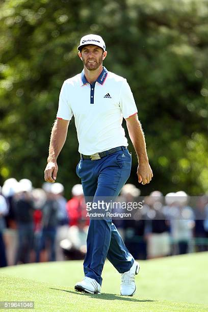 Dustin Johnson of the United States looks on during the first round of the 2016 Masters Tournament at Augusta National Golf Club on April 7 2016 in...