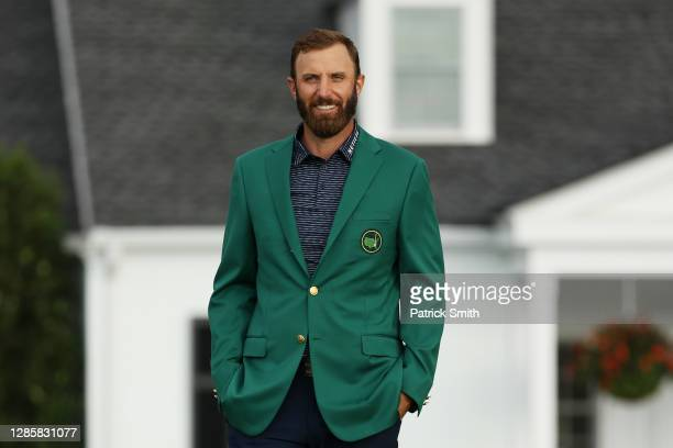 Dustin Johnson of the United States looks on during the Green Jacket Ceremony after winning the Masters at Augusta National Golf Club on November 15,...