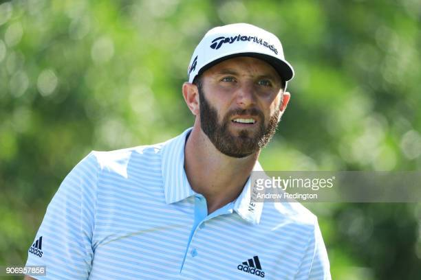 Dustin Johnson of the United States looks on from the fifth tee during round two of the Abu Dhabi HSBC Golf Championship at Abu Dhabi Golf Club on...