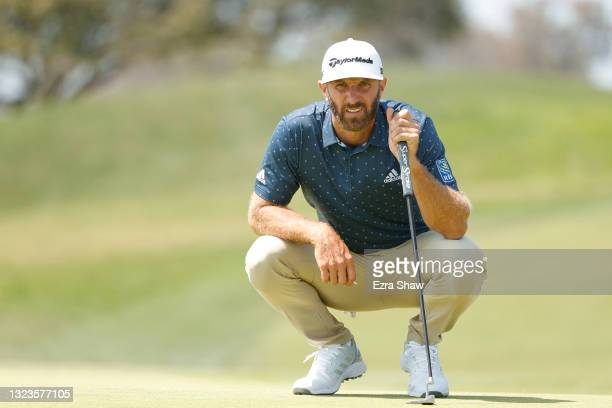 Dustin Johnson of the United States looks on from the second hole during a practice round prior to the start of the 2021 U.S. Open at Torrey Pines...