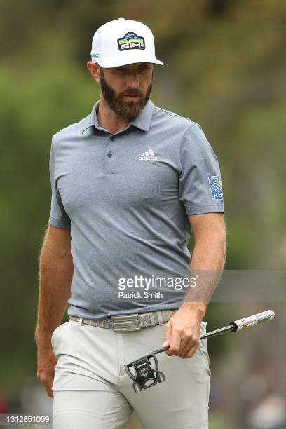 Dustin Johnson of the United States looks over his putt on the seventh green during the second round of the RBC Heritage on April 16, 2021 at Harbour...