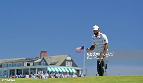 Dustin Johnson of the United States makes a putt for par on the first hole during the first round of the 2018 US Open at Shinnecock Hills Golf Club...
