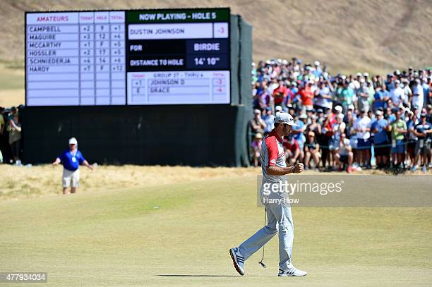 Dustin Johnson of the United States makes birdie on the fifth hole during the third round of the 115th US Open Championship at Chambers Bay on June...