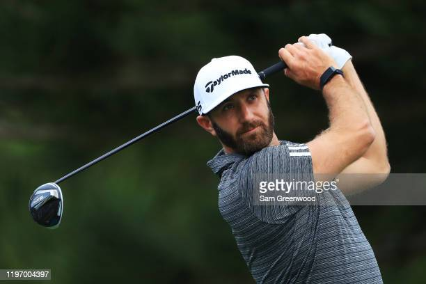 Dustin Johnson of the United States plays a shot during the proam prior to the Sentry Tournament Of Champions at the Kapalua Plantation Course on...