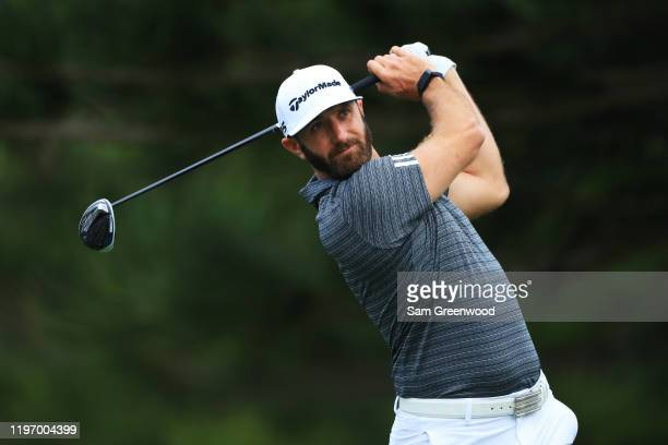 Dustin Johnson of the United States plays a shot during the pro-am prior to the Sentry Tournament Of Champions at the Kapalua Plantation Course on...