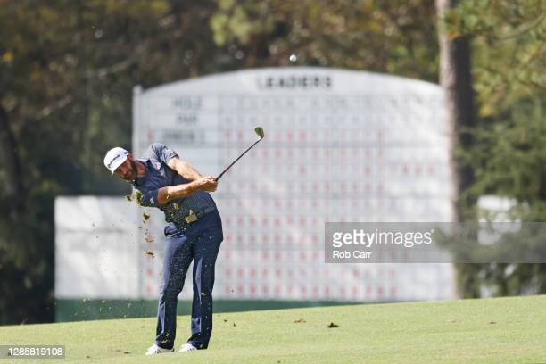 Dustin Johnson of the United States plays a shot on the 14th hole during the final round of the Masters at Augusta National Golf Club on November 15,...