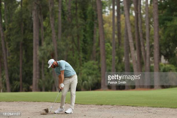 Dustin Johnson of the United States plays a shot on the 15th hole during the first round of the RBC Heritage on April 15, 2021 at Harbour Town Golf...