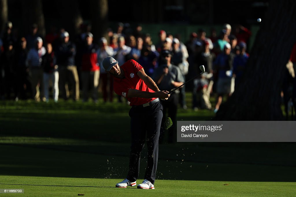 Dustin Johnson of the United States plays a shot on the 15th hole during afternoon fourball matches of the 2016 Ryder Cup at Hazeltine National Golf Club on September 30, 2016 in Chaska, Minnesota.