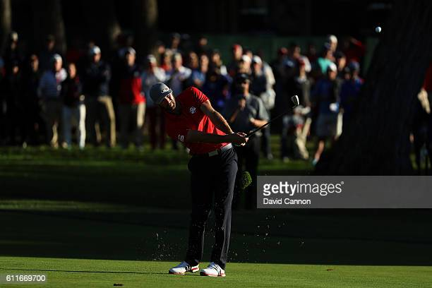 Dustin Johnson of the United States plays a shot on the 15th hole during afternoon fourball matches of the 2016 Ryder Cup at Hazeltine National Golf...