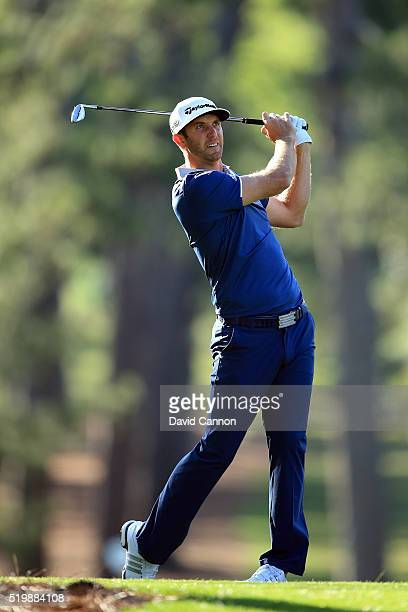 Dustin Johnson of the United States plays a shot on the 17th hole during the second round of the 2016 Masters Tournament at Augusta National Golf...