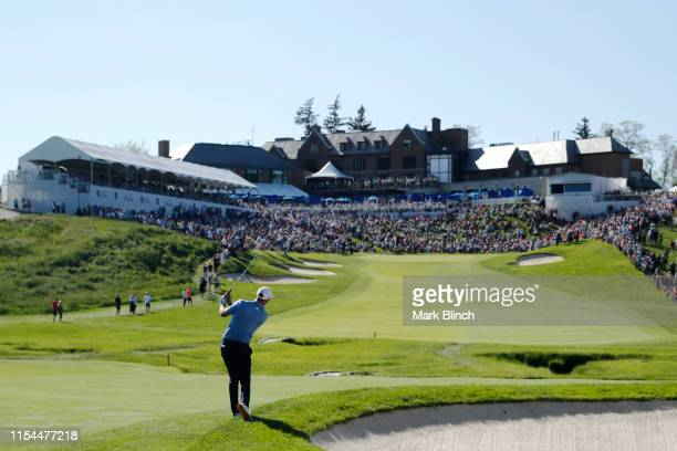 Dustin Johnson of the United States plays a shot on the 18th hole during the second round of the RBC Canadian Open at Hamilton Golf and Country Club...