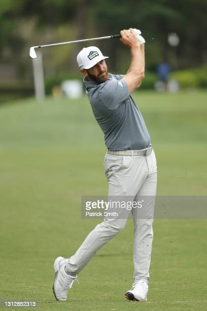 Dustin Johnson of the United States plays a shot on the eighth hole during the second round of the RBC Heritage on April 16, 2021 at Harbour Town...