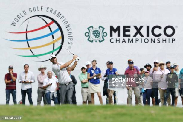 Dustin Johnson of the United States plays a shot on the ninth hole during the third round of World Golf ChampionshipsMexico Championship at Club de...