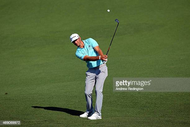 Dustin Johnson of the United States plays a shot to the second green during the first round of the 2015 Masters Tournament at Augusta National Golf...