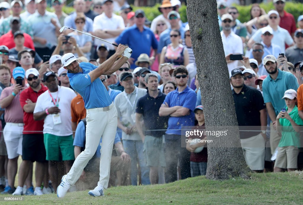 Dustin Johnson of the United States plays his second shot on the par 5, sixth hole in his match against John Rahm of Spain during the final of the 2017 Dell Match Play at Austin Country Club on March 26, 2017 in Austin, Texas.