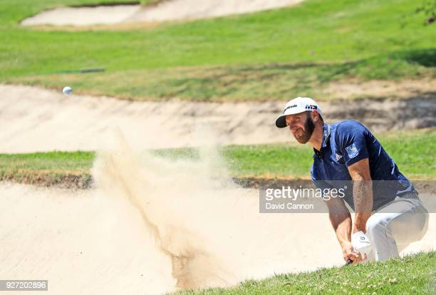 Dustin Johnson of the United States plays his second shot on the par 4 first hole during the final round of the World Golf ChampionshipsMexico...