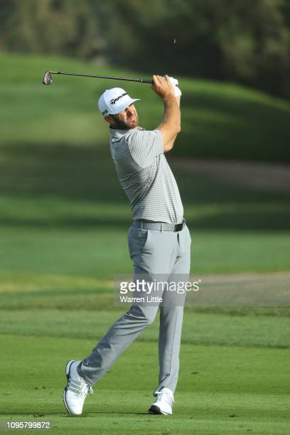 Dustin Johnson of the United States plays his second shot on the third hole during Day Three of the Abu Dhabi HSBC Golf Championship at Abu Dhabi...