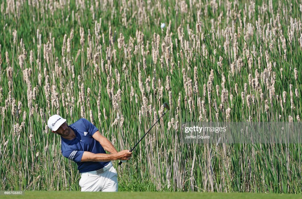 Dustin Johnson of the United States plays his shot during a practice round prior to the 2017 U.S. Open at Erin Hills on June 13, 2017 in Hartford, Wisconsin.