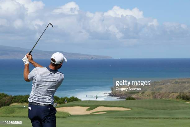 Dustin Johnson of the United States plays his shot from the 11th tee during the final round of the Sentry Tournament Of Champions at the Kapalua...