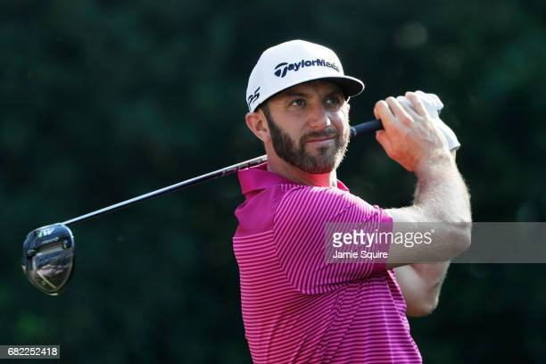 Dustin Johnson of the United States plays his shot from the 11th tee during the second round of THE PLAYERS Championship at the Stadium course at TPC...