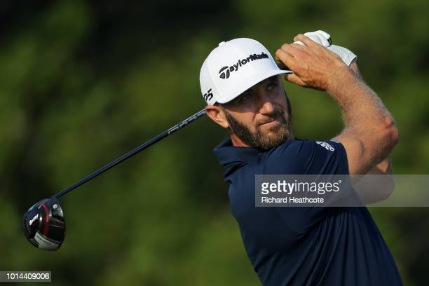 Dustin Johnson of the United States plays his shot from the 12th tee during the second round of the 2018 PGA Championship at Bellerive Country Club...