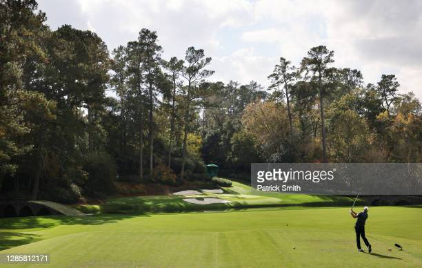 Dustin Johnson of the United States plays his shot from the 12th tee during the final round of the Masters at Augusta National Golf Club on November...