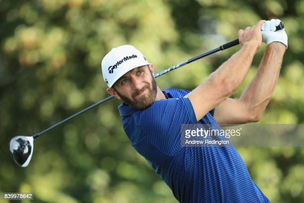 Dustin Johnson of the United States plays his shot from the 13th tee during the final round of The Northern Trust at Glen Oaks Club on August 27 2017...