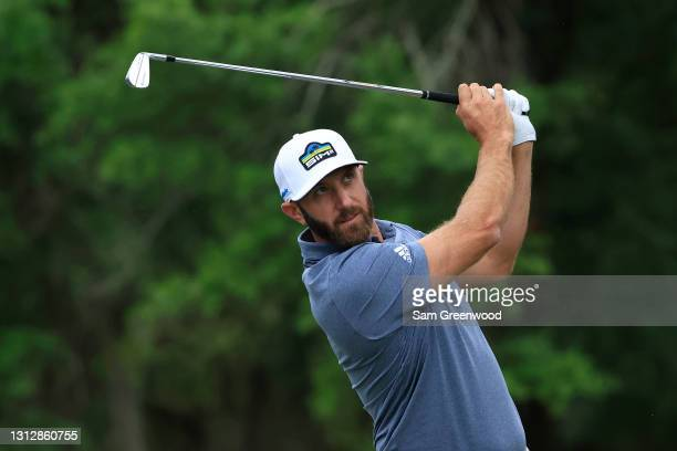 Dustin Johnson of the United States plays his shot from the 14th tee during the second round of the RBC Heritage on April 16, 2021 at Harbour Town...