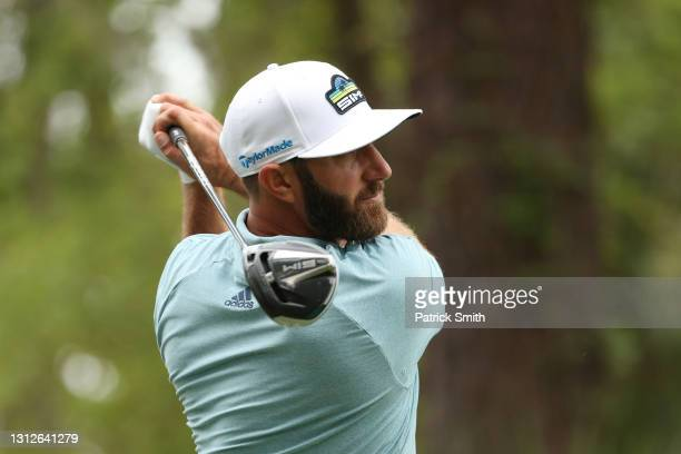 Dustin Johnson of the United States plays his shot from the 15th tee during the first round of the RBC Heritage on April 15, 2021 at Harbour Town...