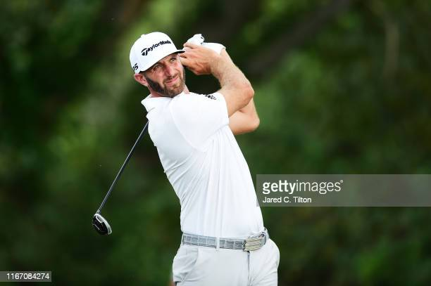 Dustin Johnson of the United States plays his shot from the 16th tee during the second round of The Northern Trust at Liberty National Golf Club on...