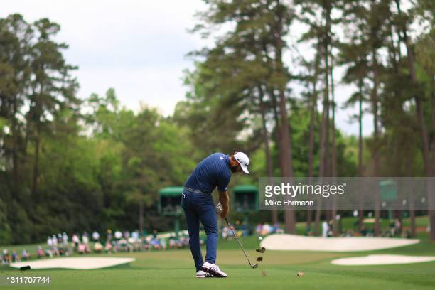 Dustin Johnson of the United States plays his shot from the 16th tee during the second round of the Masters at Augusta National Golf Club on April...